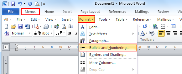 Where is the bullet and numbering in microsoft word 2007 2010 use the familiar word 2003 style in working with word 2007201020132016 if you have classic menu for word installed ccuart Image collections