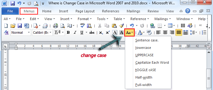 Where is the change case in microsoft word 2007 2010 2013 and 2016 use the familiar word 2003 style in working with word 2007 2010 2013 and 2016 if you have classic menu for word installed spiritdancerdesigns Images