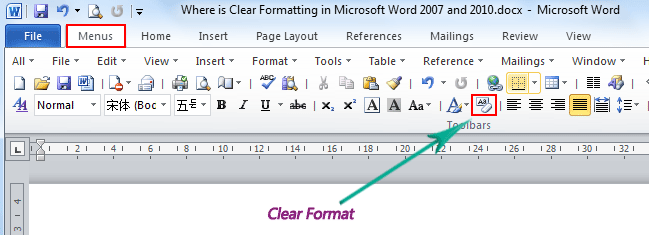 Where is the clear formatting in microsoft word 2007 2010 2013 use the familiar word 2003 style in working with word 2007201020132016 if you have classic menu for word installed ccuart Gallery