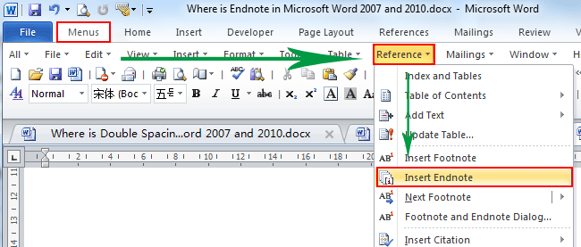 Where is the Endnote in Microsoft Word 2007, 2010, 2013, 2016, 2019
