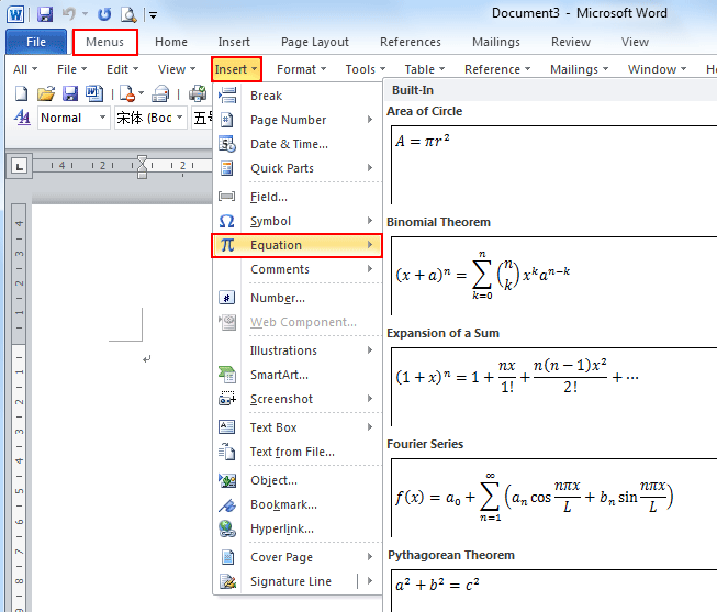 where is the equation in microsoft word 2007 2010 2013 and 2016
