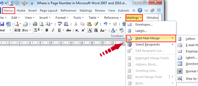 Where is the mail merge in microsoft word 2007 2010 2013 and 2016 if you have classic menu for word 2007201020132016 installed spiritdancerdesigns Image collections
