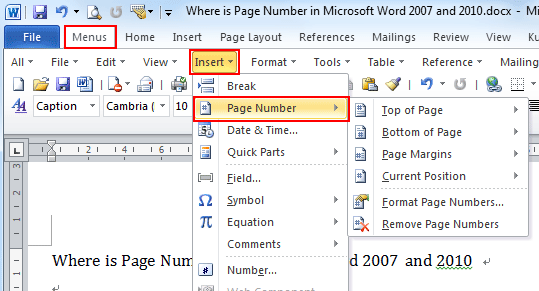 Where is the page number in microsoft word 2007 2010 2013 and 2016 ccuart