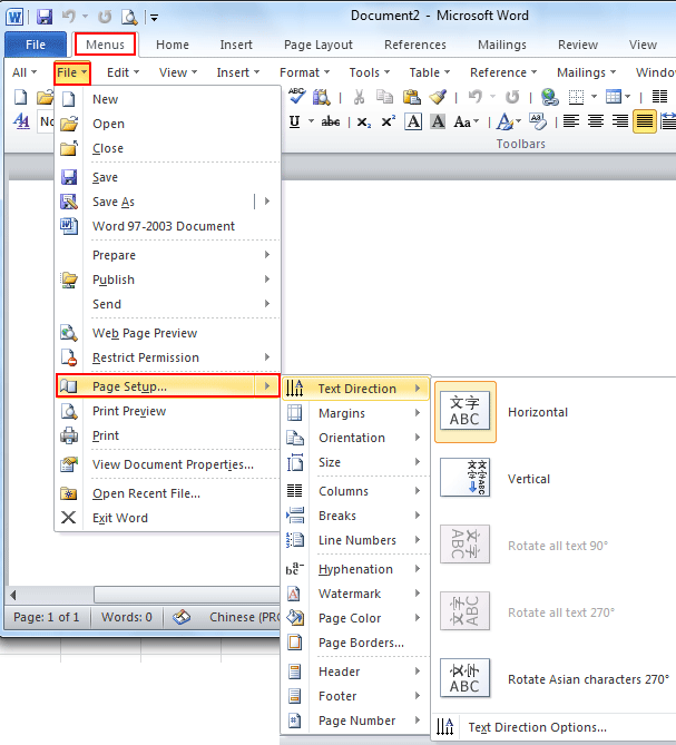 Where is the Page Setup in Microsoft Word 2007, 2010 and 2013