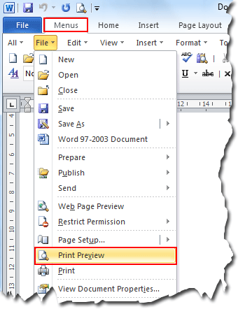 where is the print preview in microsoft word 2007, 2010, 2013 and 2016