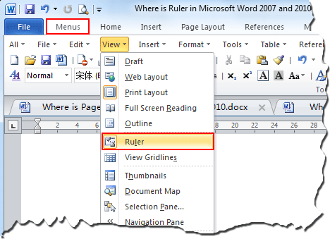 Show ruler in microsoft excel 2003