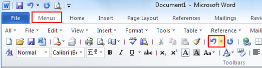 how to add back button in word 2010