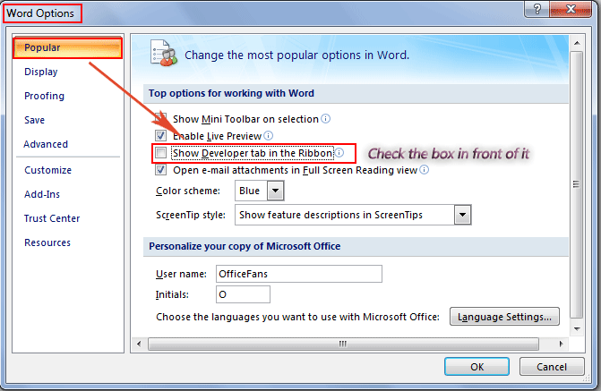 Where Is The Enable Developer Tab In Word 2007 2010 2013