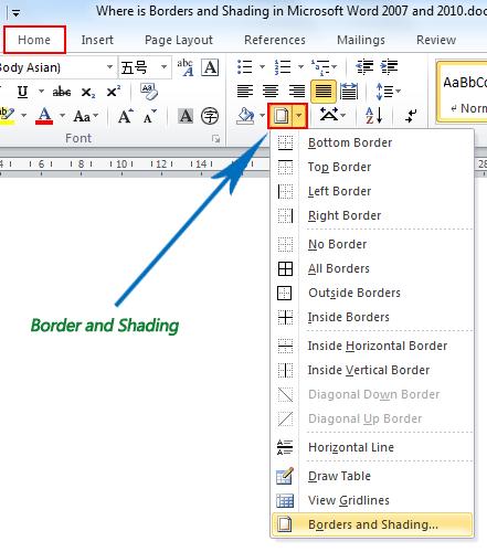 Where is the Borders and Shading in Word 2007, 2010, 2013 and 2016
