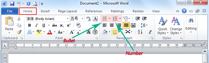 Where Is The Bullet And Numbering In Microsoft Word 2007 2010 2013