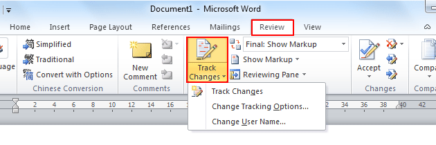 how to track changes on a word document