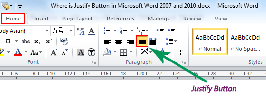 Where is the justify button in microsoft word 2007 2010 2013 and 2016 if you have not classic menu for word 2007201020132016 installed you can ccuart