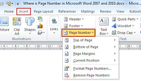 Where is the page number in microsoft word 2007 2010 2013 and 2016 if you have not classic menu for word installed you can ccuart