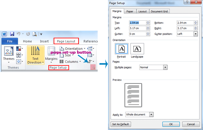 Where is the Page Setup in Microsoft Word 2007, 2010, 2013