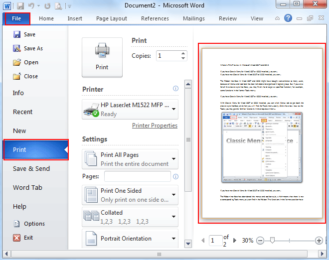 Where is the Print Preview in Microsoft Word 2007, 2010