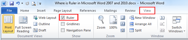 Where is the Ruler in Microsoft Word 2007, 2010, 2013, 2016