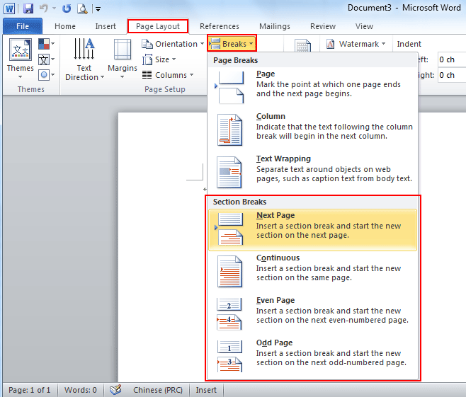Where is the section break in word 2007 2010 2013 and 2016 if you have not classic menu for word 2007201020132016 installed you can ccuart Choice Image