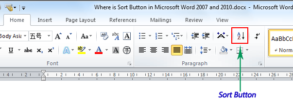 Where Is The Sort Button In Microsoft Word 2007 2010