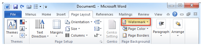shot watermark button in word 20072010 page layout tab