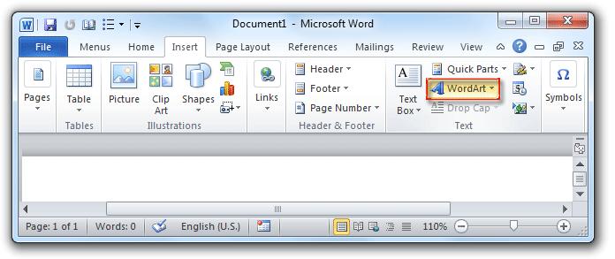 shot: WordArt button in Word 2007/2010 Insert Tab - www.office.com/setup