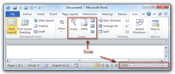 Where is the zoom in microsoft word 2007 2010 2013 and 2016 shot zoom buttons in word 2010s view tab ccuart