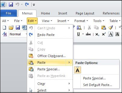 how to paste plain text by default in microsoft word 2013