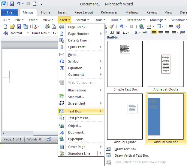 in Microsoft Word 2010