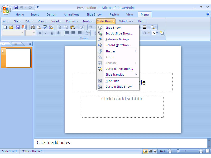 Click to view Classic Menu for PowerPoint 2007 screenshots