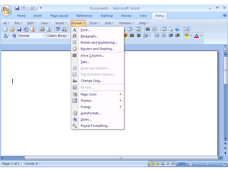 Classic Menu for Word 2007 screenshot
