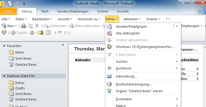 zurückholen von emails in outlook