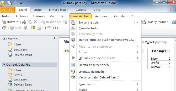 descargar correo de hotmail en outlook 2007