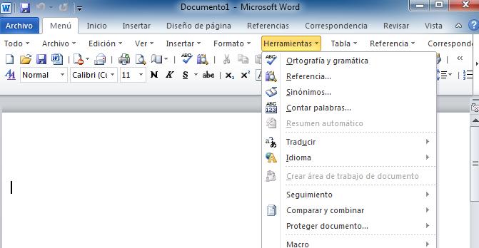 herramientas en microsoft word: