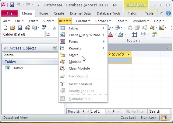 Click to view Classic Menu for Access 2010 5.00 screenshot