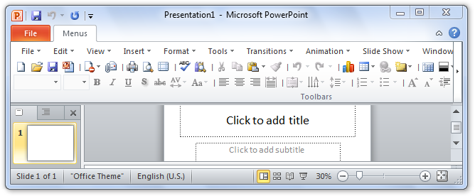 Screen shot of PowerPoint 2010