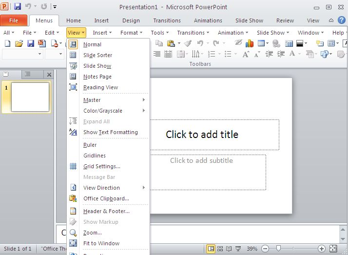 Click to view Classic Menu for PowerPoint 2010 screenshots