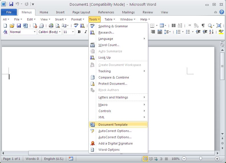 Classic Menu for Word 2010 Screen shot
